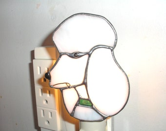 LT Stained glass white Poodle dog night light lamp domestic dog french poodle
