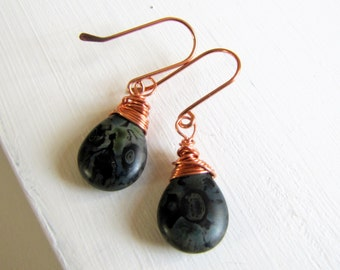 Rustic Jewelry Black Picasso Earrings Copper Earrings Boho Earrings Black Earrings Casual Earrings Fashion Earrings Gift For Her Under 30