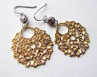Round Filigree Earrings Rhinestone Earrings Wedding Earrings Bridal Earrings Bridesmaid's Earrings Gold Filigree Earrings Gold Earrings Deco