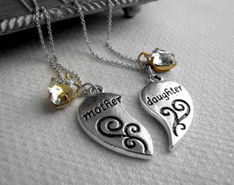Swarovski Mother Daughter Necklace Set Silver Charm Half Heart Necklace For Mom Daughter Half Heart Necklace Set