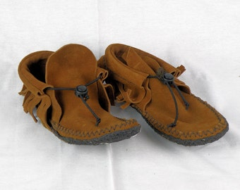 Casual Brown Suede Fringe Moccasins