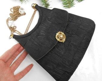 Vintage Lou Taylor evening bag Lou Taylor shoulder bag with mirror chain handles and rhinestone closure Lee Taylor clutch handbag pocketbook