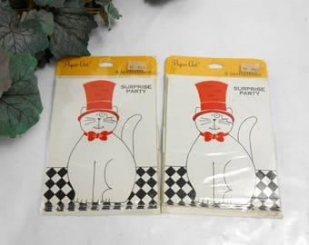 Vintage Paper Art surprise party invitations cat in the hat new old stock red white black party invitations vintage party invitations