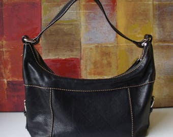 Excellent FOSSIL Handbag Black Leather Shoulder Hobo Bag