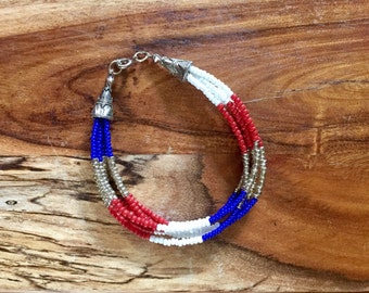 Red, White, Blue and Silver 6-strand beaded bracelet