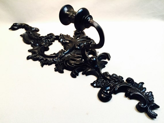 Vintage Black Wall Sconces : Vintage Black Candle Stick Wall Sconce Set by metalmeg on Etsy