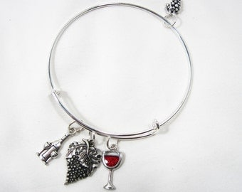 Wine Themed Adjustable Bangle With Grapes, Wine Bottle & Red Wine Glass