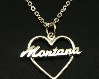 Silver Heart Montana State Necklace - Montana State Jewelry - Long Distance Love - BFF Gift - Friendship Gift, Best Friend Gift