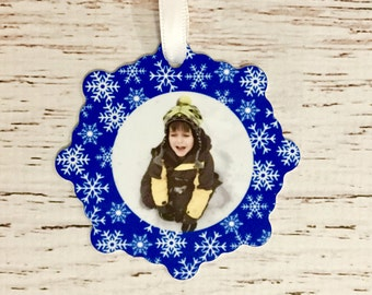 Custom Snowflake Stocking Personalized Ornament with Photo