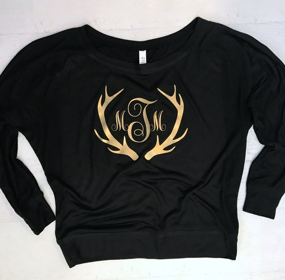 Antler Monogram Christmas Metallic Gold Flowy off the Shoulder Long Sleeve T-shirt