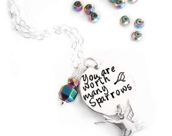 Silver You are Worth Many Sparrows necklace from Matthew 10:31
