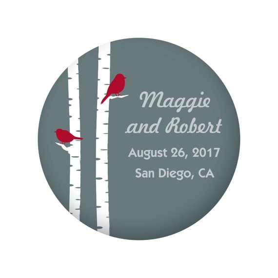 Save The Date Magnets for Wedding, Birch Tree, Aspen Tree, with Red Robin Bird, Winter Wedding Outdoor Wedding, 20 Pieces Per Order