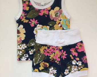 Girl Two Piece Child Clothing Set, Floral, Flower, Navy, Pink, Green, and White