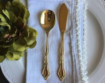 Gold Rogers Electroplate Sugar Spoon & Butter Spreader Vintage Flatware - #D2278