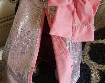Carseat Cover Elegant Silver Sequin Coral Cover with Large bow nursing cover carseat canopy car seat canopy car seat cover car seat