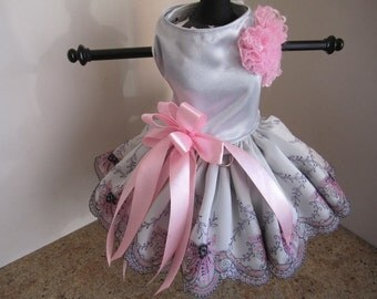 Dog Dress  Silver With Pink With Bow