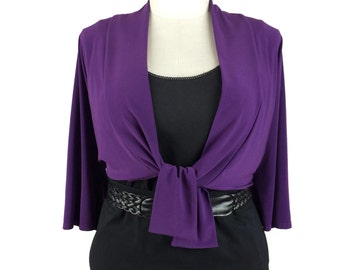 Plus size bolero / Cute bolero jacket w/ Kimono sleeve in color purple size 3X / Trendy shrug / Plus size clothing - OOAK * Clearance *