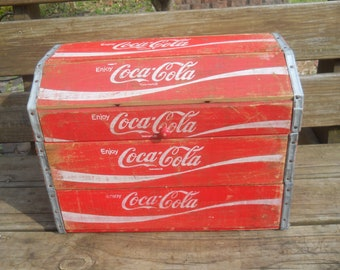 Vintage Unique Coca Cola Wood Crate Storage Chest Handmade from Vintage Coca Cola Soda Boxes-Soda Crates--Curved Top--Sturdy Box