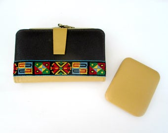 Harness Leather Embroidered Wallet Key Case Set New Vintage