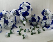 "Final Payment For ""Angel"" Cascade Bridal  Royal Blue,Silver and White Roses 21 pieces made to order Brides on a Budget WeDDiNG BouQuets"