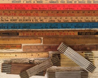17 Vintage Wooden Rulers, Yard Sticks and Pieces - Assorted Sizes and Styles