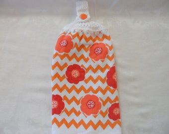 Hanging Double Kitchen Towel Spring Flowers Towel Crochet Hanging Kitchen Towel Orange Flower Crochet Top Kitchen Towel