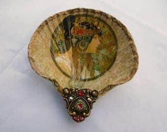 Shell Jewelry Dish, Shell Dish, Alfonse Mucha Shell Jewelry Dish Ring Dish Trinket Dish Shell Art