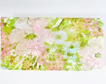 Vintage Shower Curtain Sheer FLORAL KALEIDOSCOPE Pinks Blues Greens