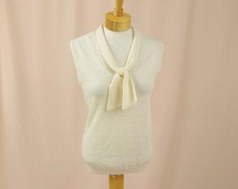 60s Exmoor Cream Shell * Sailor Top * Sleeveless Shell * 1960s Cream Top * 60s blouse * 1960s Blouse * Cream Sweater Shell