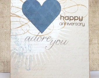 Anniversary Card- Happy Anniversary- Heart Card- Adore You Card- Love Card