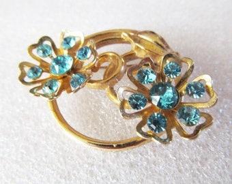 Vintage Blue Rhinestone Flower Brooch Pin Gold Tone Double Flower