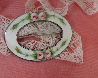 Beautiful Vintage Brooch,Pin, Enamel Guilloche Sterling Oval with Roses