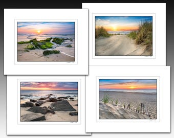 Beach Sunrise Limited Edition Matted Print Collection, Set of four matted prints each fit an 11x14 inch frame, Buy as a set and save