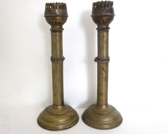 Antique pair of brass wall sconces or candlesticks, vintage lighting