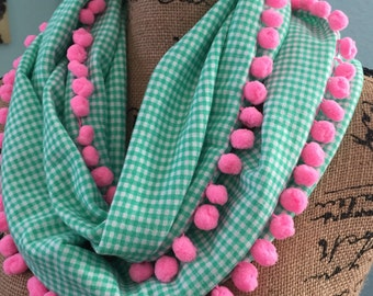 Gingham Infinity Scarf with Pink Pom Pom Trim