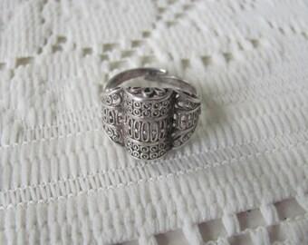 Antique Sterling Filigree Ring 7.5 Adjustable