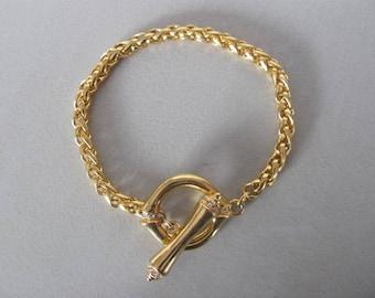 Vintage Toggle Bracelet, Chunky gold Toggle Bracelet, Classic Jewelry