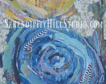 Blue Rose canvas print.  mixed media collage art with yellow.