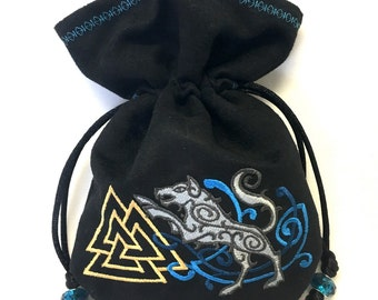 NORDIC WOLF & VALKNUT - Mini Faux Suede Embroidered Pouch for Dice, Runes, LaRp accessory