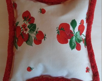 Strawberry red and white gingham pillow cover, summer home decor, cushion, handmade