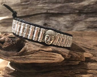 Buddha Tibetan Prayer Wheel Silver Beads Leather Wrap Bead Bracelet