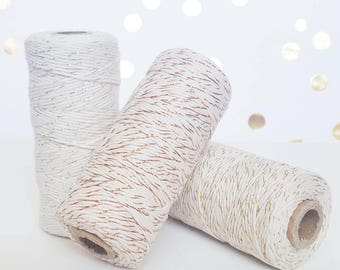 SALE* Copper Twine or Gold Twine or Silver Twine 110 yards of 9-ply Metallic Bakers Twine