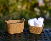 Towel Laundry Basket ~ Miniature Basket ~ Terrarium Accessory ~ Dollhouse Miniature ~ Does not unfold ~ Rolled up towel ~ White Towel Fabric