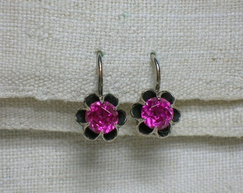 Soviet Silver Earrings. 875 & Ruby (lab). Kharkiv Ukraine. Buttercup Setting