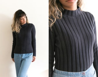 Navy Blue Mock Neck Sweater / Fitted Long Sleeve Turtleneck / Ribbed Shirt / High Neck Pullover Knit Sweater / 90s Grunge Minimal Stretch
