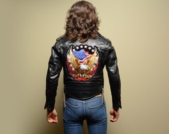 vintage 60s leather motorcycle jacket Easy Rider American flag eagle patch mens vintage jacket black leather extra small 34 36 XS