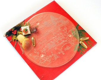 Lead Crystal Cake Plate With Stand Pink Flowers Scalloped Edge
