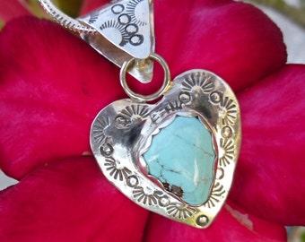 R56--Royston Turquoise Heart Pendant