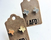 texas state shaped earrings | gold and silver plated jewelry | lone star state