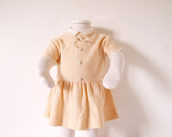 French Vintage knit dress baby girl  pale peach baby girls dress drop waiste babé couture